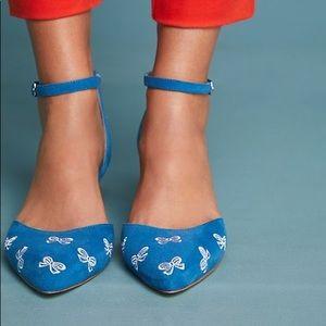 Anthropologie Embroidered Bow Kitten Heels